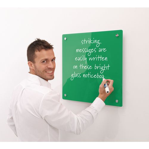 Write-On Magnetic Glass Whiteboard Green H x W mm: 500 x 500