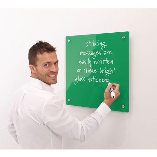 Write-On Magnetic Glass Whiteboard Green H x W mm: 600 x 450