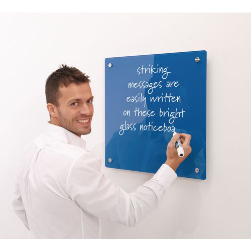 Write-On Magnetic Glass Whiteboard Blue H x W mm: 600 x 450