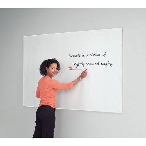 White Write-On Coloured Edged Whiteboard 1220x1220