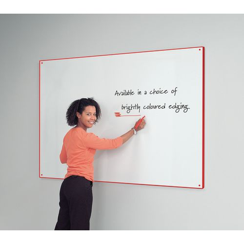 Red Write-On Coloured Edged Whiteboard 1220x1220