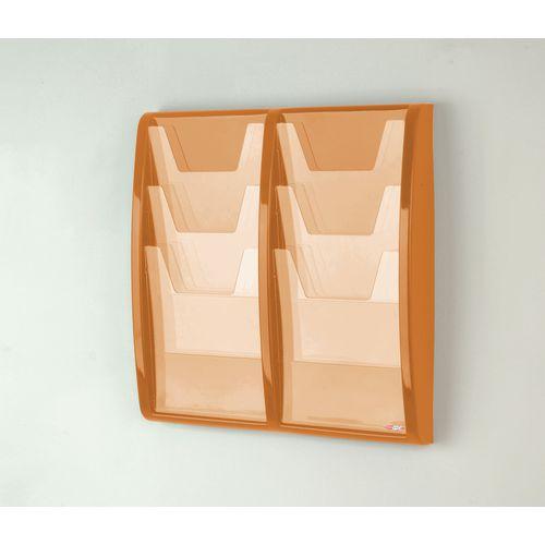 Leaflet Dispenser Wall Mounted6Xa4 Pockets Orange