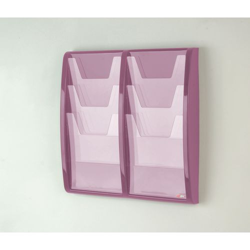 Leaflet Dispenser Wall Mounted6Xa4 Pockets Lilac