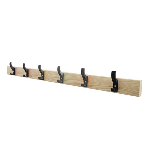 1200mm Length Solid Ash Coat Rail Fitted With 8 Hooks Black Hooks