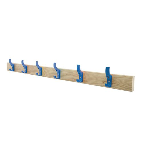 1200mm Length Solid Ash Coat Rail Fitted With 8 Hooks Blue Hooks