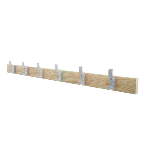 1200mm Length Solid Ash Coat Rail Fitted With 8 Hooks Silver Hooks