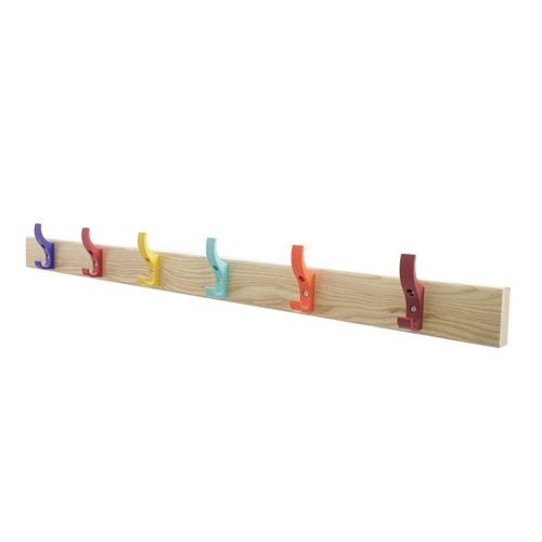 1500mm Length Solid Ash Coat Rail Fitted With 10 Hooks Multicoloured Hooks