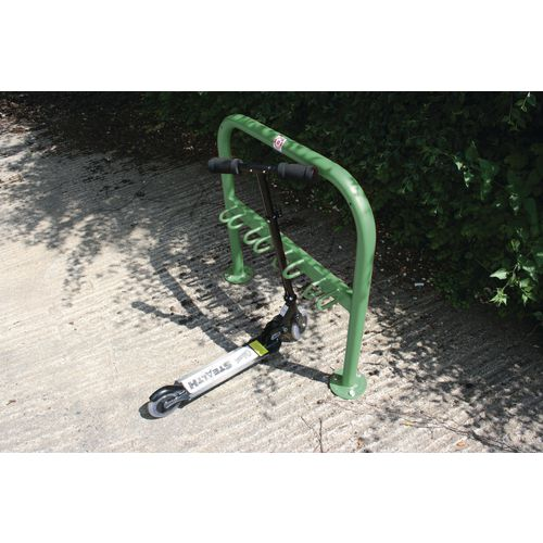 Scooter Rack To Hold 10 Galv + Coated Green
