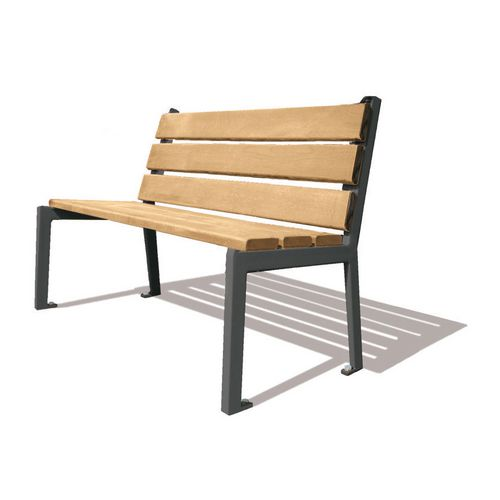 Silaos Seat With Arc Armrest Timber Slats Finished In Light Oak Colour Stain Preserver Steel Structure Zinc Primed Painted L1200Mm