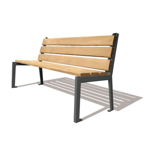 Silaos Seat With Arc Armrest Timber Slats Finished In Light Oak Colour Stain Preserver Steel Structure Zinc Primed Painted L1800Mm