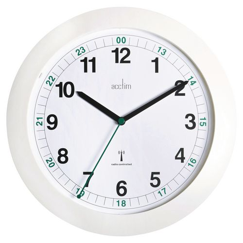 Milan White Radio Controlled 24Hr Wall Clock