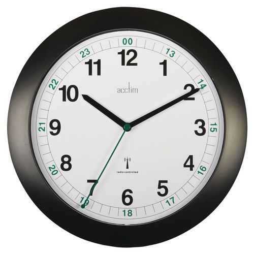 Milan Black Radio Controlled 24Hr Wall Clock