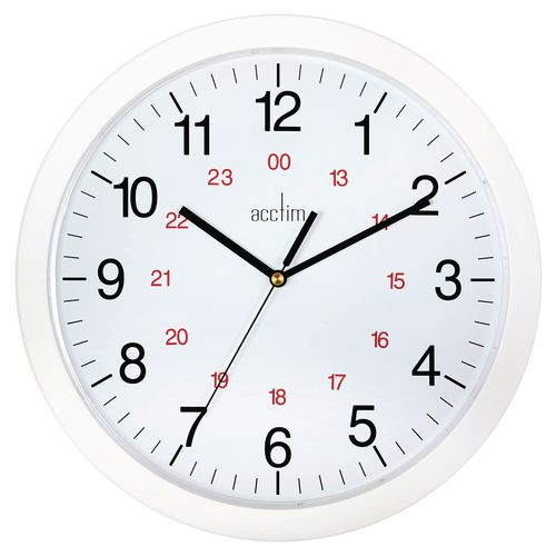 Metro 300mm White + Red 24Hr Track Wall Clock