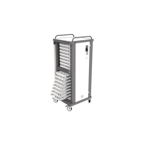 Lapstore Secure Charge Trolley For Up To 16 Mid Sized Laptops Light Grey &Black 16 Drawers - 1 Compartment in Each