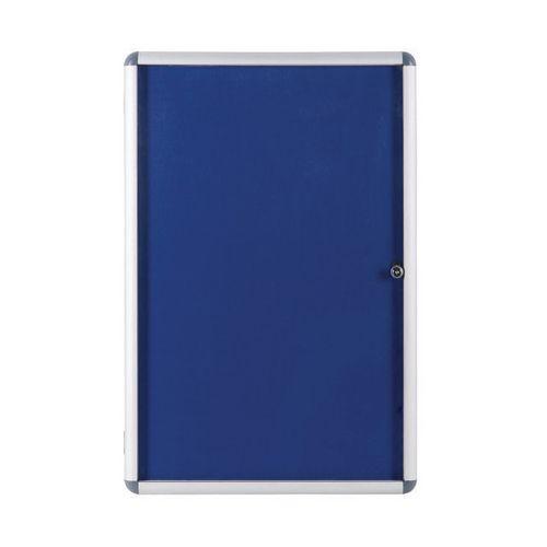 Economy Lockable Blue Felt Noticeboard 600mmx900mm