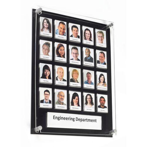 Black Staff Photo Board 20 Capacity C/W Security Front