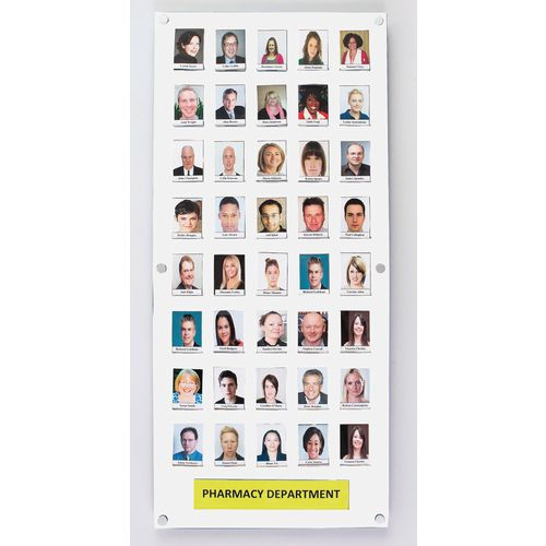 White Staff Photo Board 40 Capacity C/W Security Front