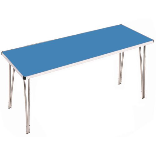 Aluminium Canteen Folding Table Blue Laminate Table Top W1830xD685xH698mm - Strong, Lightweight and Simple To Fold