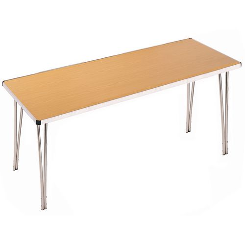 Aluminium Canteen Folding Table Oak Laminate Table Top W1830xD685xH698mm - Strong, Lightweight and Simple To Fold