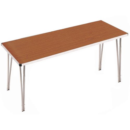 Aluminium Canteen Folding Table Teak Laminate Table Top W1520xD610xH760mm - Strong, Lightweight and Simple To Fold