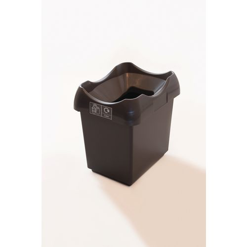 30 Litre Recycling Bin With Grey Body Black Lid &Graphic