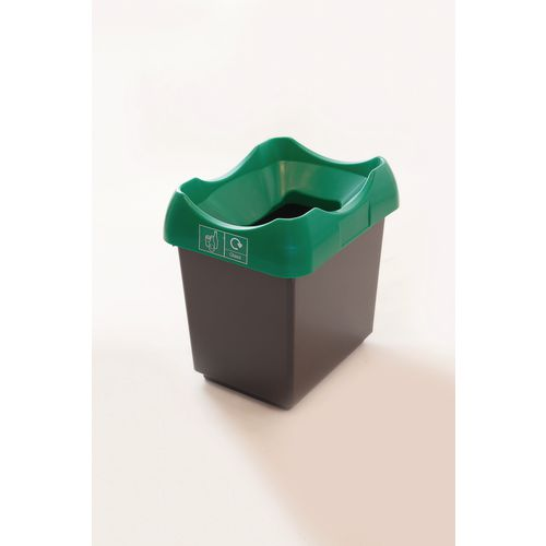 30 Litre Recycling Bin With Grey Body Green Lid &Graphic