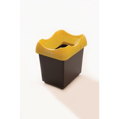 30 Litre Recycling Bin With Grey Body Yellow Lid &Graphic