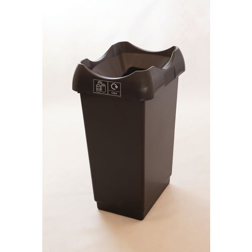50 Litre Recycling Bin With Grey Body Black Lid &Graphic