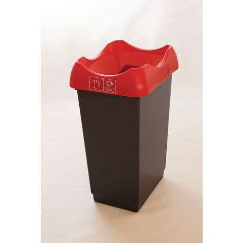 50 Litre Recycling Bin With Grey Body Red Lid &Graphic