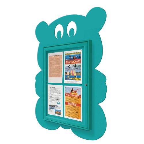 """School Fun"" Teddy Bear Notice Board 4xA4 Notice Board External Dimensions: H 750x550mm Painted Turquoise"