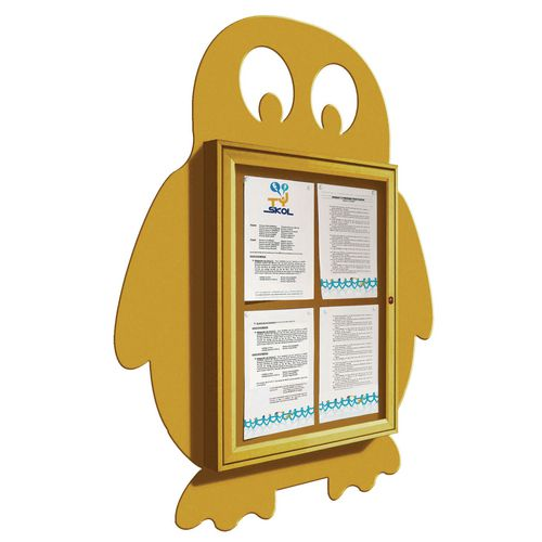 """School Fun"" Penguin Notice Board 4xA4 Notice Board External Dimensions: H 750x550mm Painted Yellow"