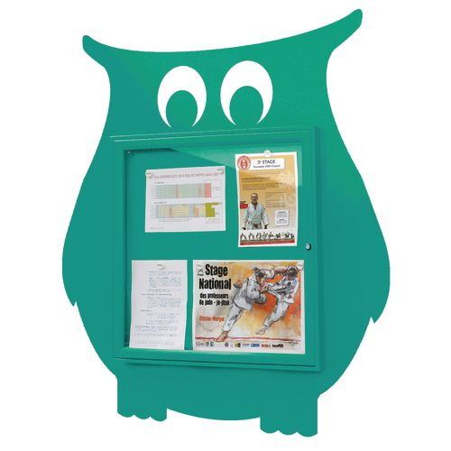 """School Fun"" Owl Notice Board 6xA4 Notice Board External Dimensions: H 750x750mm Painted Turquoise"