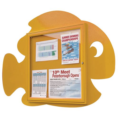 """Water Fun"" Fish Notice Board 6xA4 Notice Board External Dimensions: H 750x750mm Painted Yellow"
