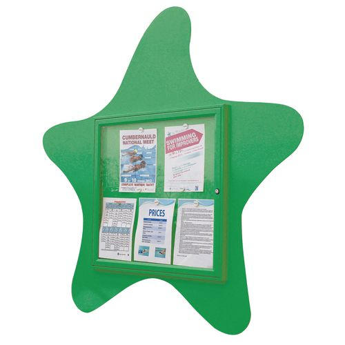"""Water Fun"" Starfish Notice Board 6xA4 Notice Board External Dimensions: H 750x750mm Painted Green"