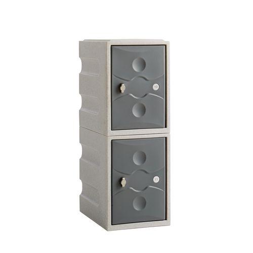 2 Door Mini Plastic Dark Grey Locker Plus Waterproof