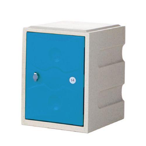 1 Door Mini Plastic Locker Standard Grey Body Blue Door