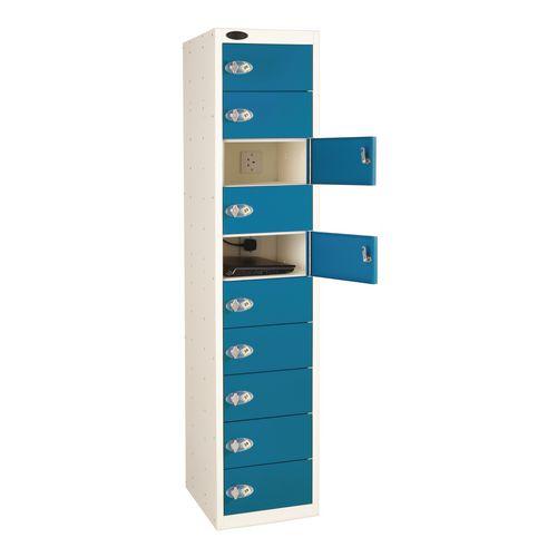15 Door Charge And Store Locker White Body &Blue Door