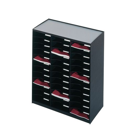 36 Compartment Mailsorter Black For A4 Literature With Label Holders And Labels
