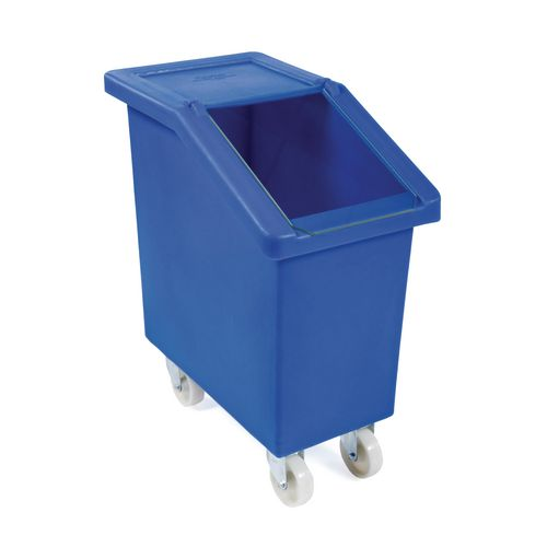 65L Mobile Storage And Dispense Bin Yellow With Clear Flip Top Lid
