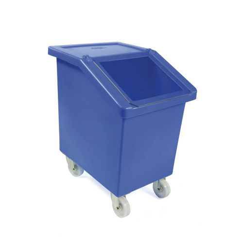 90L Mobile Storage And Dispense Bin Blue With Clear Flip Top Lid