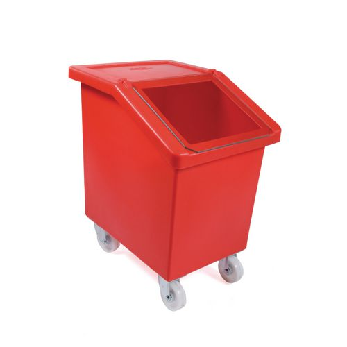90L Mobile Storage And Dispense Bin Red With Clear Flip Top Lid