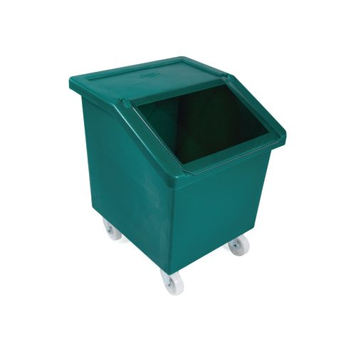 150L Mobile Storage And Dispense Bin Green With Clear Flip Top Lid