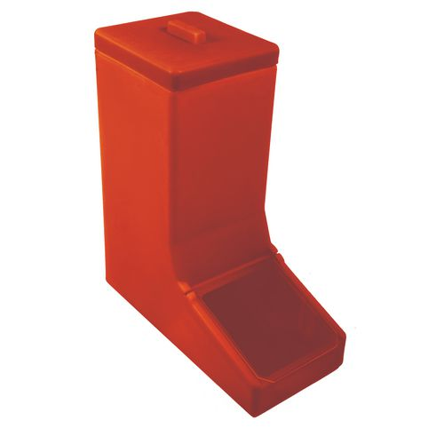 Table Top Dispense Bin With Clear Flap And Top Lid Allowing It To Be Filled From The Top Red