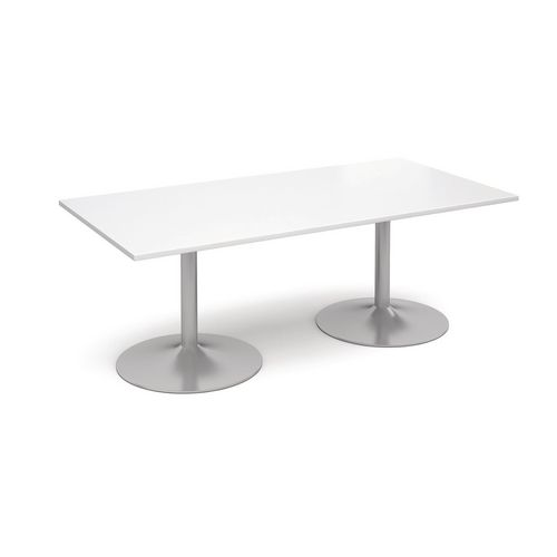 2000mm Rectangular Trumpet Base Boardroom Table 25mm Top White