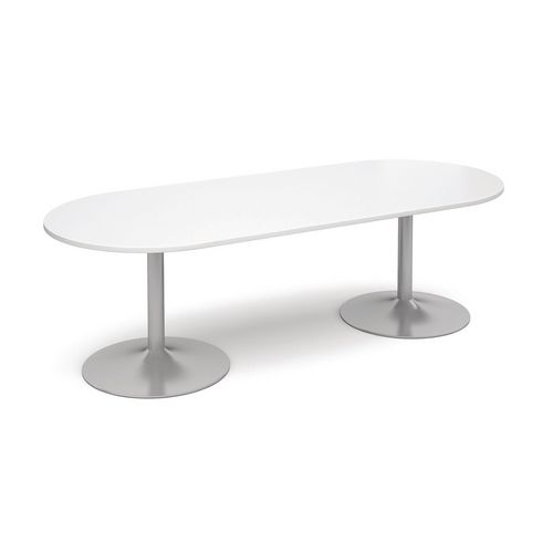 Radial Trumpet Base Boardroom Table 25mm Top White