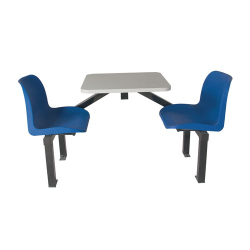 Floor Mountable Canteen Bench 2 Seater Single Entry Blue 725x1690x530mm - Economic seating solution for vending, refreshment and rest areas