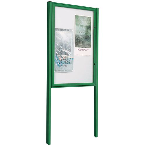 Painted Tradition Outdoor Notice Board 30mm Profile 6/A4 H 750X750mm + Pair Of Painted Posts Green