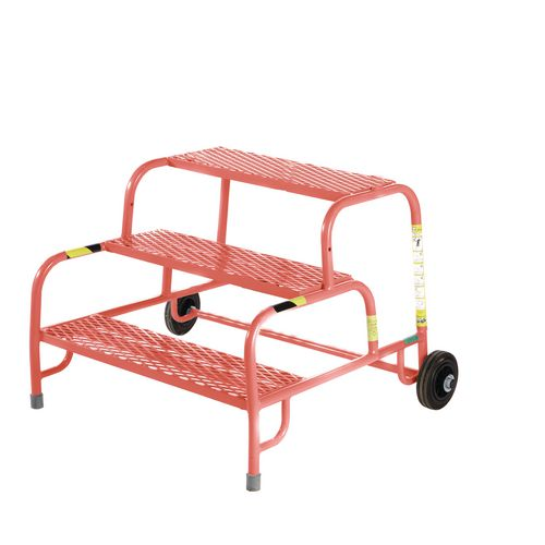 3 Tread Mobile Step No Handrail Mesh Tread Red