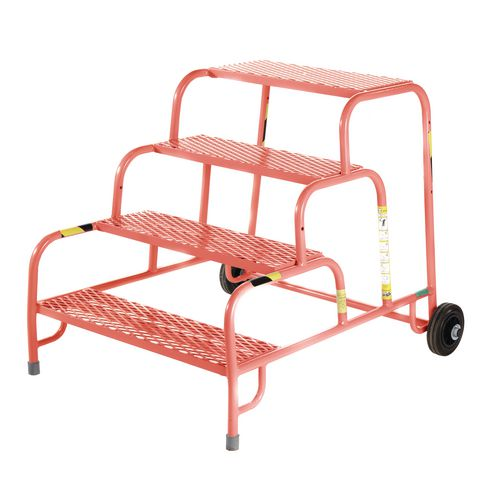4 Tread Mobile Step No Handrail Mesh Tread Red