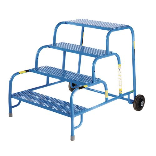 4 Tread Mobile Step No Handrail Mesh Tread Blue